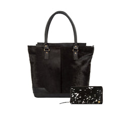Black & Silver Pony Hair Leather Tote Bag & Purse Gift Set For Her