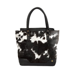 Black & White Pony Hair Leather Tote Bag For Her