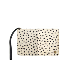 Black & White Spotted Cowhide Clutch Bag | Spot Print