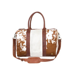 Brown and White Natural Cowhide Compact Weekender Bag