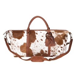 Brown and White Natural Cowhide Leather Large Weekender