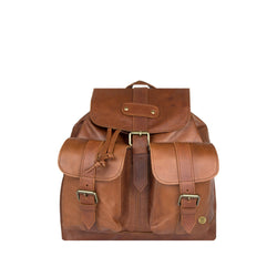 Brown Full Grain Leather Drawstring Backpack With Pockets