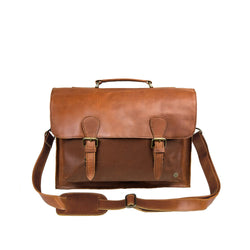 "Brown Full Grain Leather Messenger Satchel with 15"" Laptop Capacity"