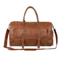 Brown Full Grain Leather Overnight Bag with Shoe Compartment