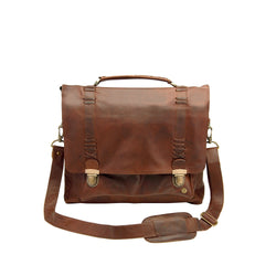 "Brown Full Grain Leather Satchel with 15"" Laptop Capacity"