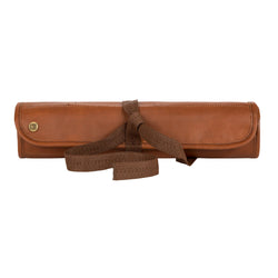 Brown Leather Knife Roll with zipped pocket for Chefs & Professionals