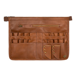 Brown Leather Tool Apron for Hairdressers and Make-up artists