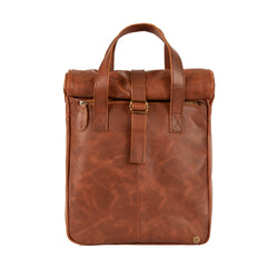 "Brown Leather Vintage Style Roll Top Backpack with 15"" Laptop Capacity"