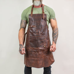 Classic Brown Leather Apron | Full Grain Leather Apron for DIY