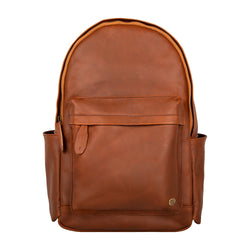 "Classic Brown Leather Backpack with 15"" Laptop Capacity"