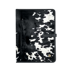 Classic Cowhide Portfolio | Black & White Cow Print A4 Document Folder