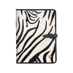 Classic Cowhide Portfolio | Zebra Print Pony Hair A4 Document Folder