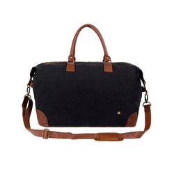 Classic Travel Bag in Black Waxed Canvas & Full Grain Leather