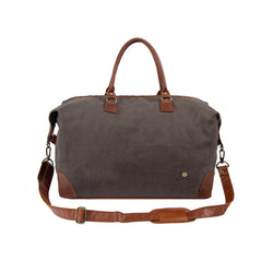 Classic Travel Bag in Grey Waxed Canvas & Full Grain Leather