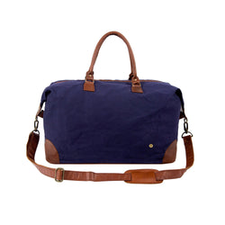 Classic Travel Bag in Navy Blue Waxed Canvas & Full Grain Leather