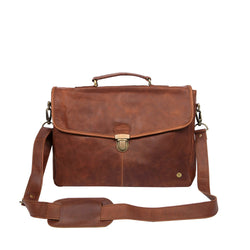 "Clip-Up Satchel in Full Grain Brown Leather with 15"" Laptop Capacity"