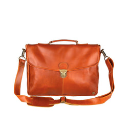 "Clip-Up Satchel in Tan Leather with 15"" Laptop Capacity"