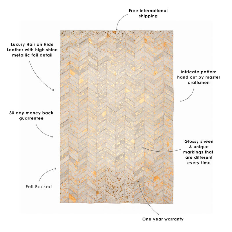 Cream & Copper Herringbone Rug
