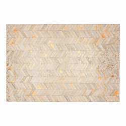 Cream & Copper Herringbone Chevron Cowhide Rug