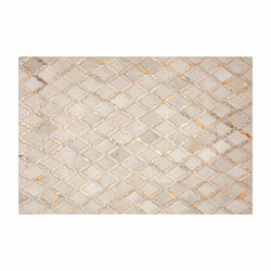 Cream & Copper Morroccan Style Geometric Cowhide Rug