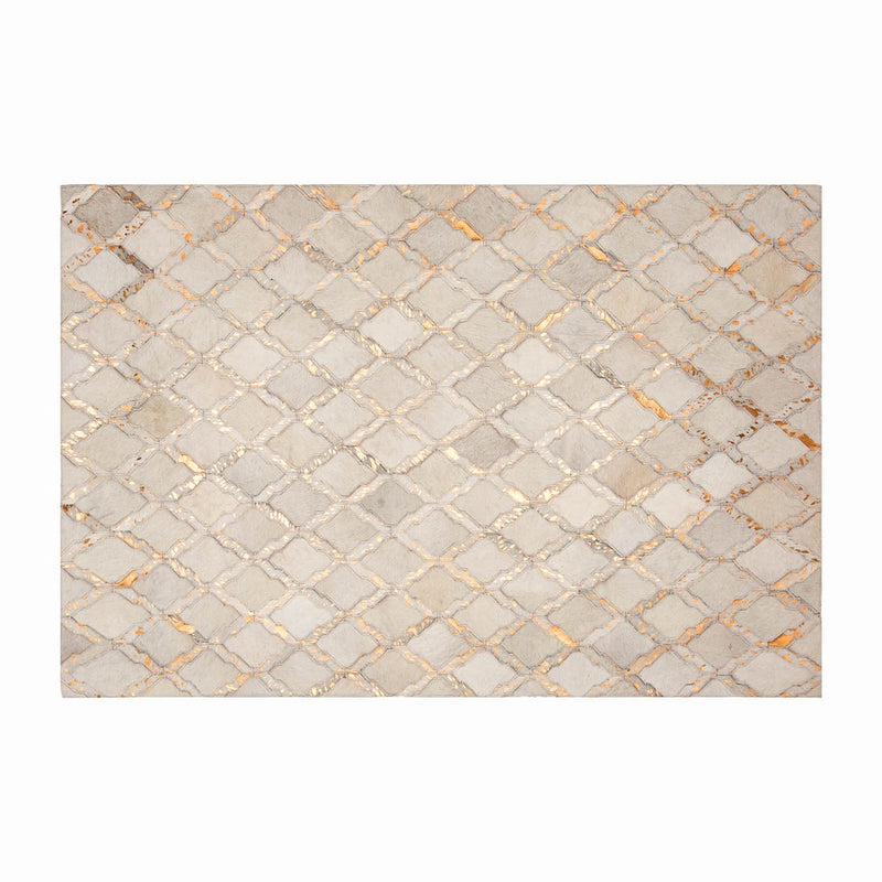 Cream & Copper Morroccan Style Geometric Rug