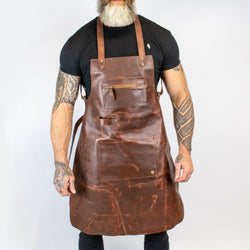 Cross Back Brown Leather Apron | Personalised Full Grain Leather Apron