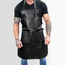 Double-Pocket Black Leather Apron | Full Grain Leather Apron for DIY