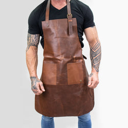 Double-Pocket Brown Leather Apron | Full Grain Leather Apron for DIY