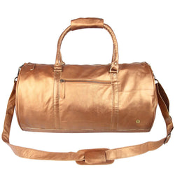 Gold Bronzed Leather Duffle Bag By MAHI Leather
