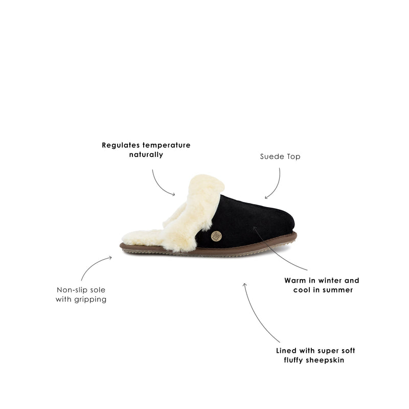 Black Sheepskin Slippers