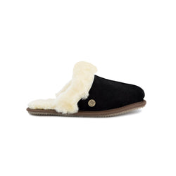 Ladies Black Sheepskin Slippers | Suede Upper & Fluffy Sheepskin