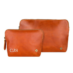 Ladies Personalized Leather Cosmetics Case Gift Set in Tan