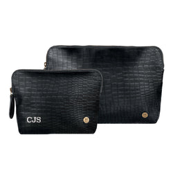 Ladies Personalized Leather Cosmetics Case Set in Black Crocodile Print
