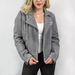 Ladies Suede Biker Jacket | Grey Suede Jacket