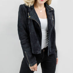 Ladies Suede Biker Jacket | Navy Blue Smoke Suede Jacket