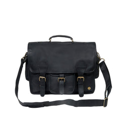 "Large Black Leather Satchel with 15"" Laptop Capacity and Pockets"