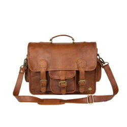 "Large Brown Leather Satchel with 15"" Laptop Capacity and Pockets"