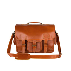 "Large Tan Leather Satchel with 15"" Laptop Capacity and Pockets"