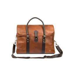 Large Two-Tone Brown Full Grain Leather Holdall | Personalised