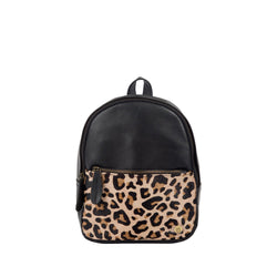 Leopard Print Black Leather Mini Backpack