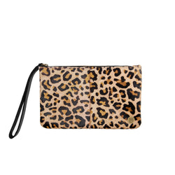 Leopard Print Cowhide Clutch Bag | Pony Hair Leather Clutch