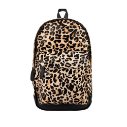 Leopard Print Cowhide Leather Backpack For Work, College, or School