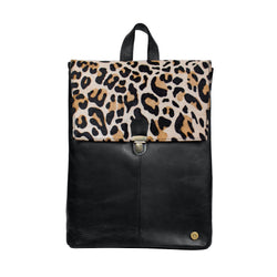 Leopard Print Leather Backpack with 15 inch Laptop Capacity