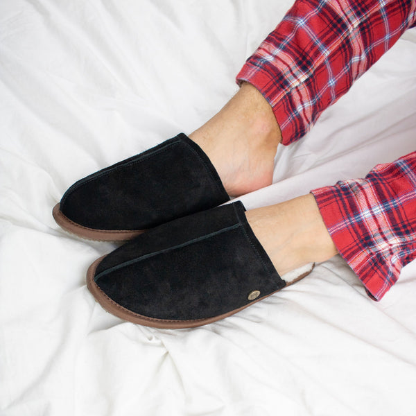 Men's Black Sheepskin Slippers
