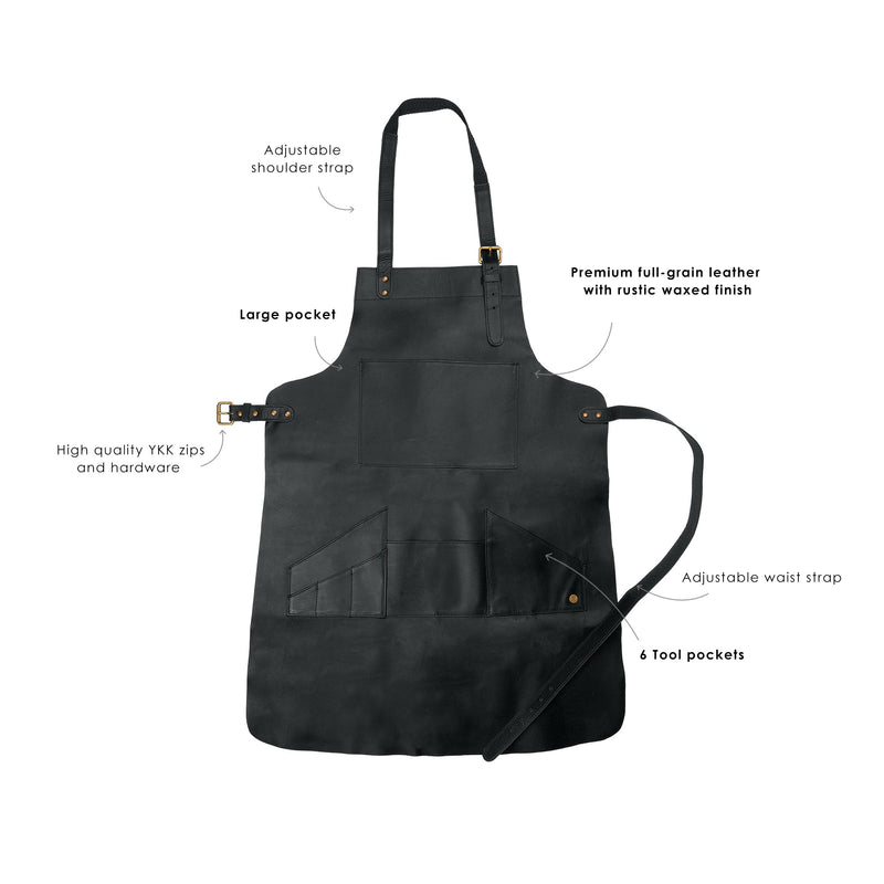Long Multi-Pocket Leather Apron