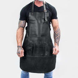 Multi-Pocket Black Leather Apron | Full Grain Leather Apron for DIY