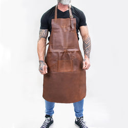 Multi-Pocket Brown Leather Apron | Full Grain Leather Apron for DIY