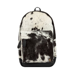 Natural Black and White Cow Print Leather Cowhide Backpack