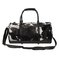 Natural Black and White Cow Print Leather Cowhide Duffle Bag