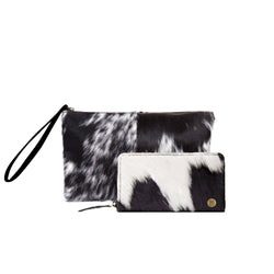 Natural Black & White Cowhide Clutch & Purse Gift Set For Her